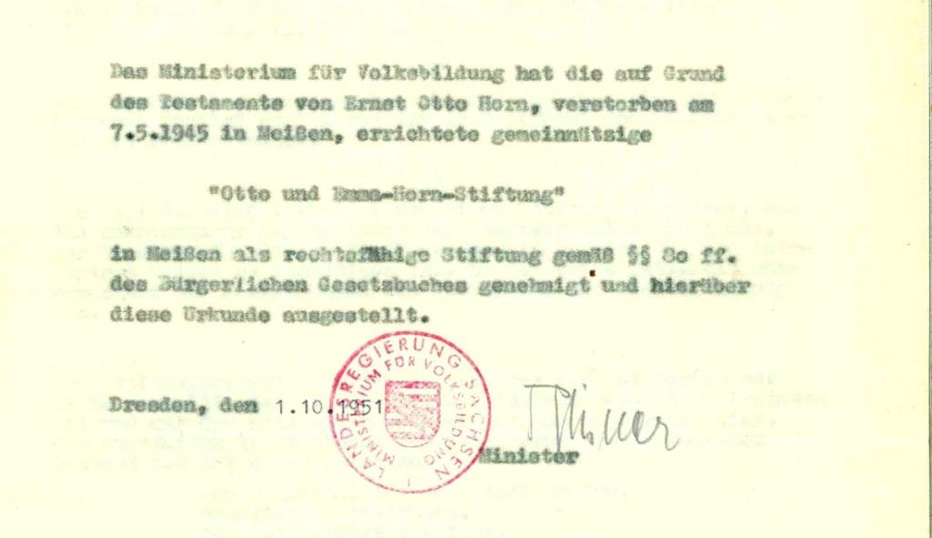Stiftungsgenehmigung durch das Land Sachsen aus dem Jahre 1951