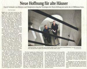 Neue Hoffnung für alte Häuser Durch Verkäufe von Münzen und Skulpturen stieg das Vermögen der Horn-Stiftung um mehr als 2,3 Millionen Euro.