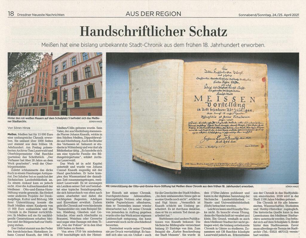 Zeitungsartikel Handschriftlicher Schatz