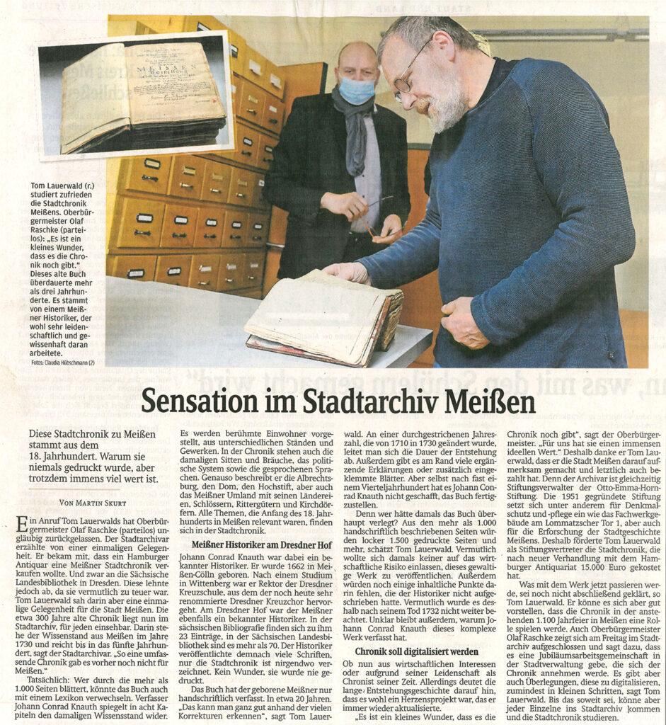 Sensation im Stadtarchiv Meißen, Sächsische Zeitung, 24.04.2021, Von Martin Skurt